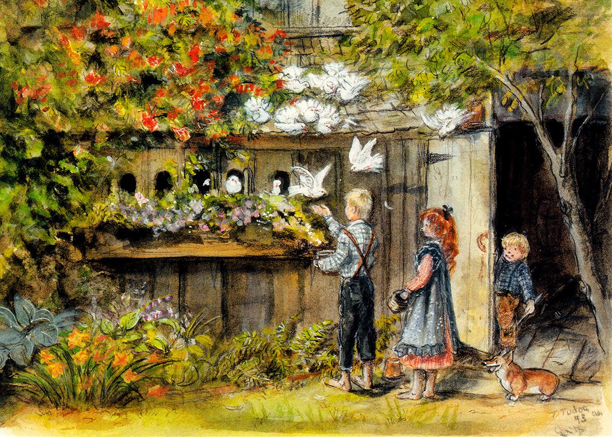 children in garden cards