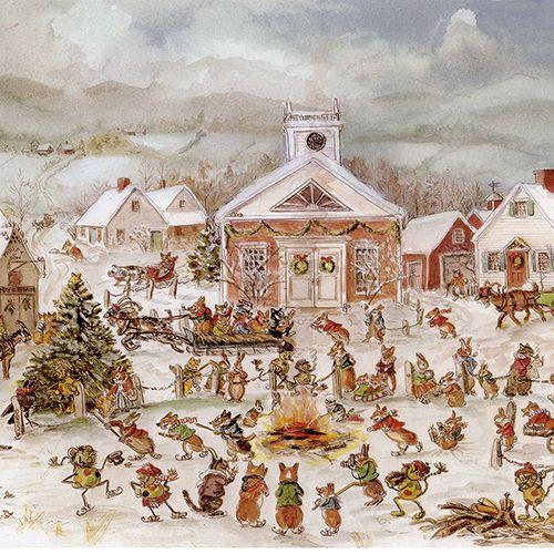 Christmas in Corgiville Print - Tasha Tudor and Family