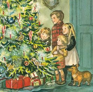 caspari single rare card christmas eve